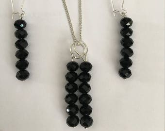 Necklace and Earrings Black Crystal Earrings Matching Necklace