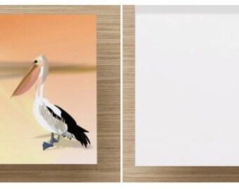Beach, Pelican,  sunrise, digitial illustration, Notecards set of (10), art cards, blank cards, stationery,