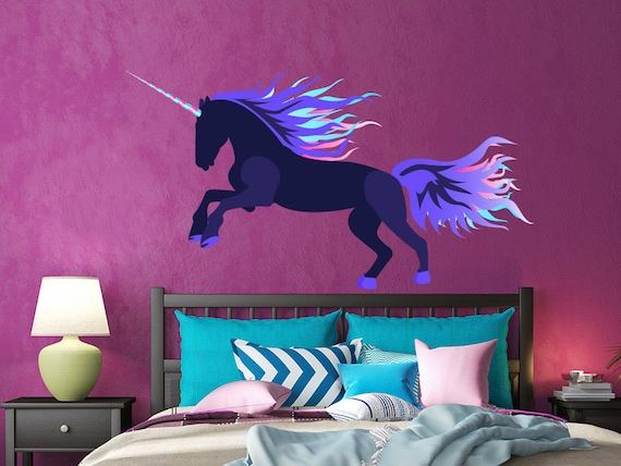 Full Wall Mural Decals: Unicorn Wall Decal Full Color Mural Unicorn Wall Stickers
