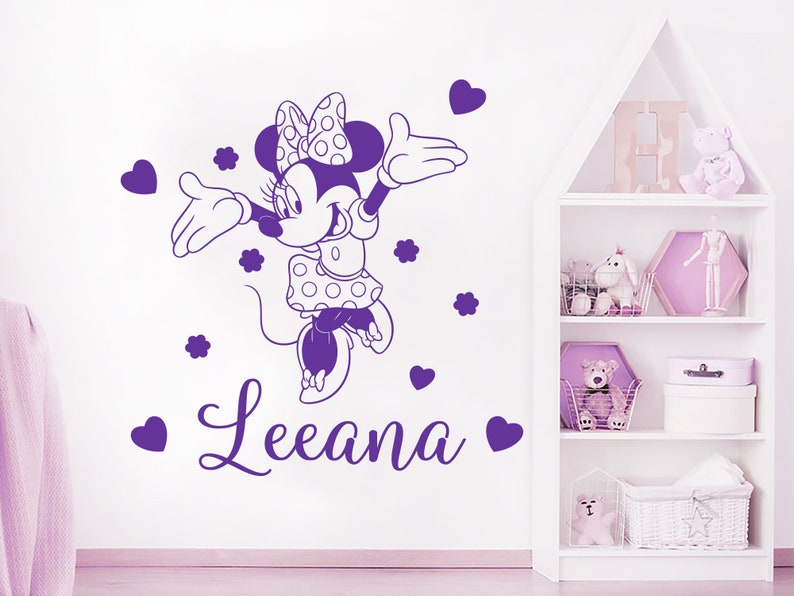 Above Crib Girls Mouse Decor Girls Name Wall Decal Personalized Name Girl Decals Girl Name Gift Decals C805 Custom Name Vinyl Sticker