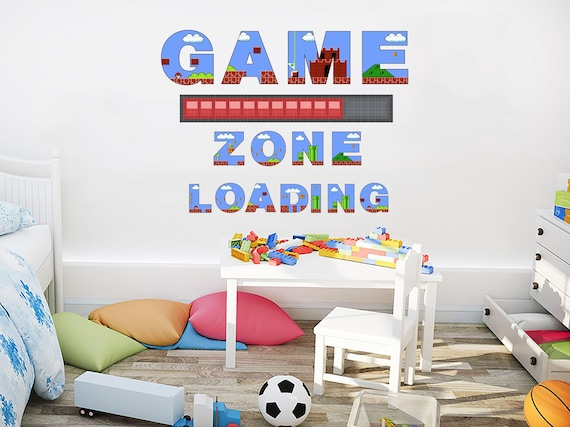 Game Zone Loading Wall Decal. Super Mario Wall Mural. Mario Wall Stickers.  Playroom Wall Decor. Super Mario Nursery Bedroom Decal PS98