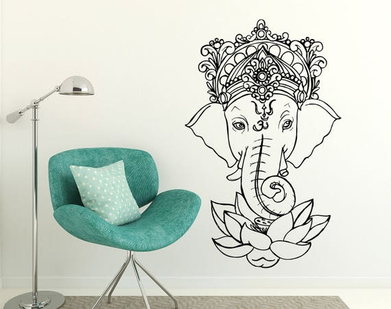 elephant wall decal ganesh vinyl sticker lotus floral | etsy