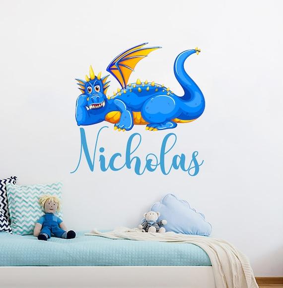 Les Garçons Dragon Nom Couleur Peinture Murale Dragon Mural Autocollants Art Du Dragon Dragon Garçons Decor Nom De Dragon Chambre D Enfant