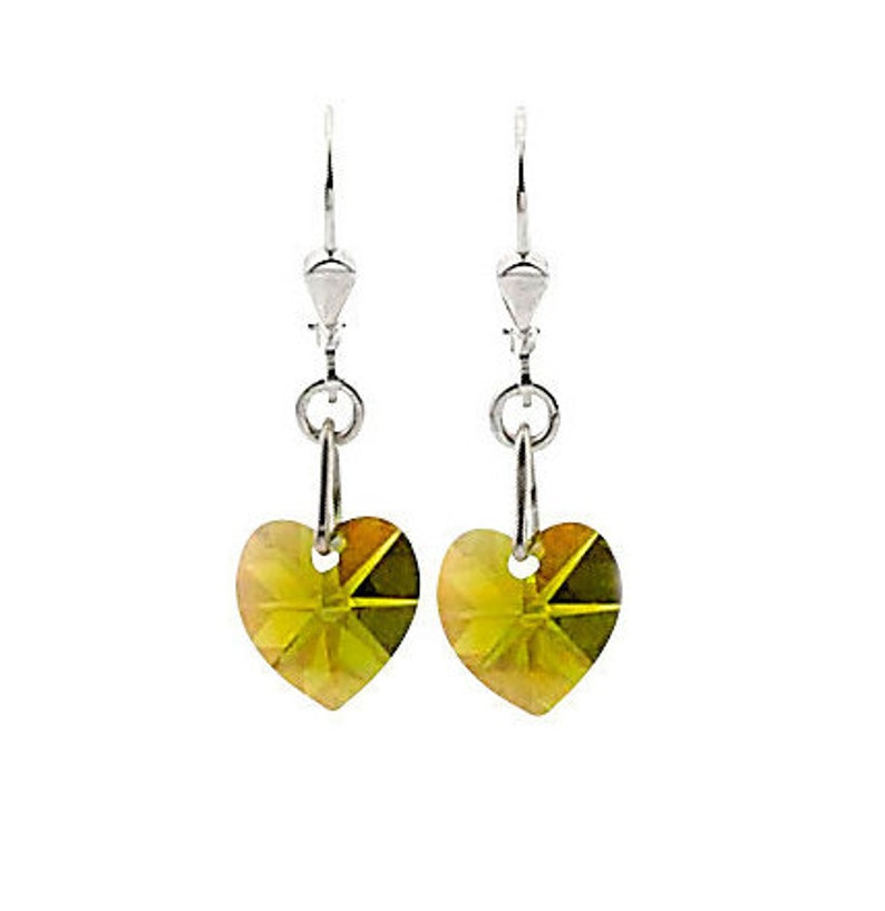 SWAROVSKI Mini Heart Sterling Silver Earrings in Olive Green image 0