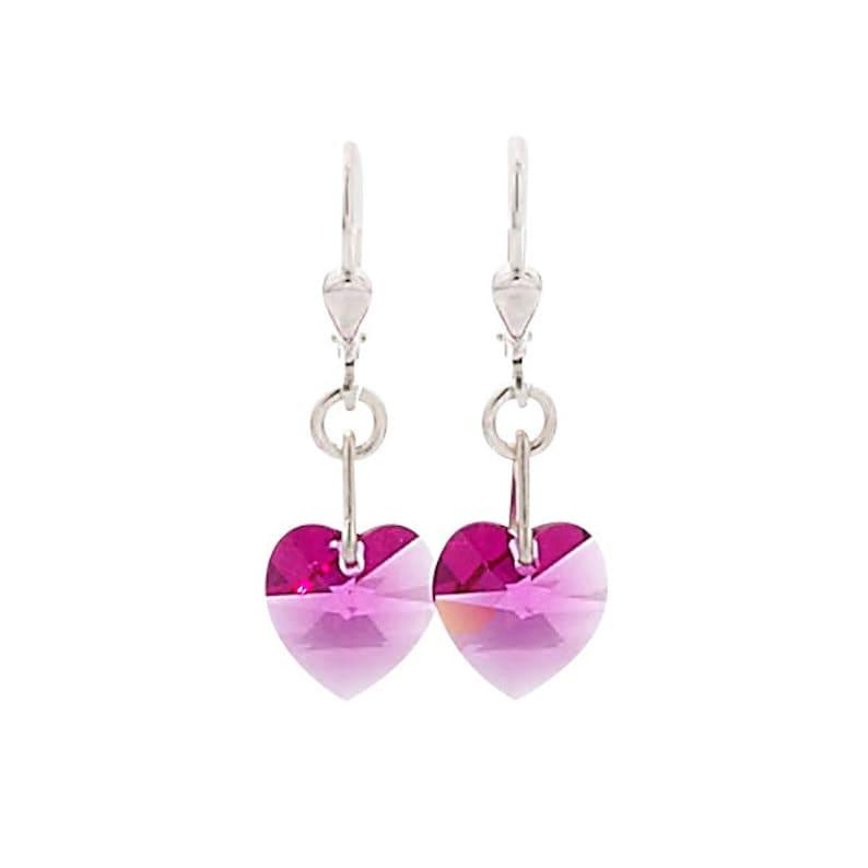 SWAROVSKI Mini Heart Sterling Silver Earrings in Fuschia Pink image 0