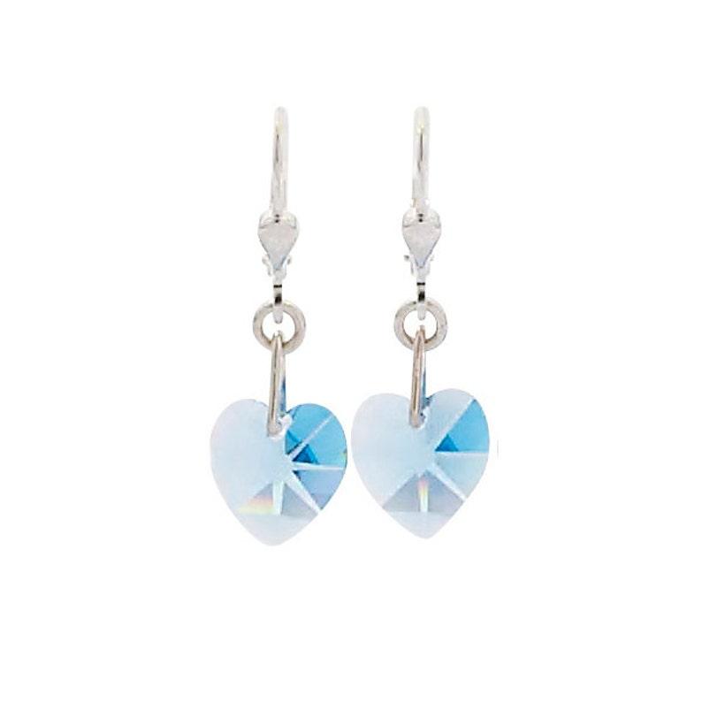 SWAROVSKI Mini Heart Sterling Silver Earrings in Aqua Blue image 0