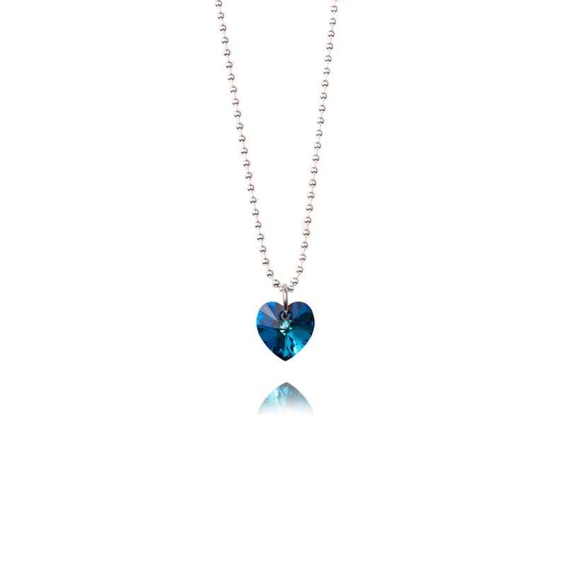 SWAROVSKI Mini Heart Sterling Silver Necklace in Bermuda Blue image 0