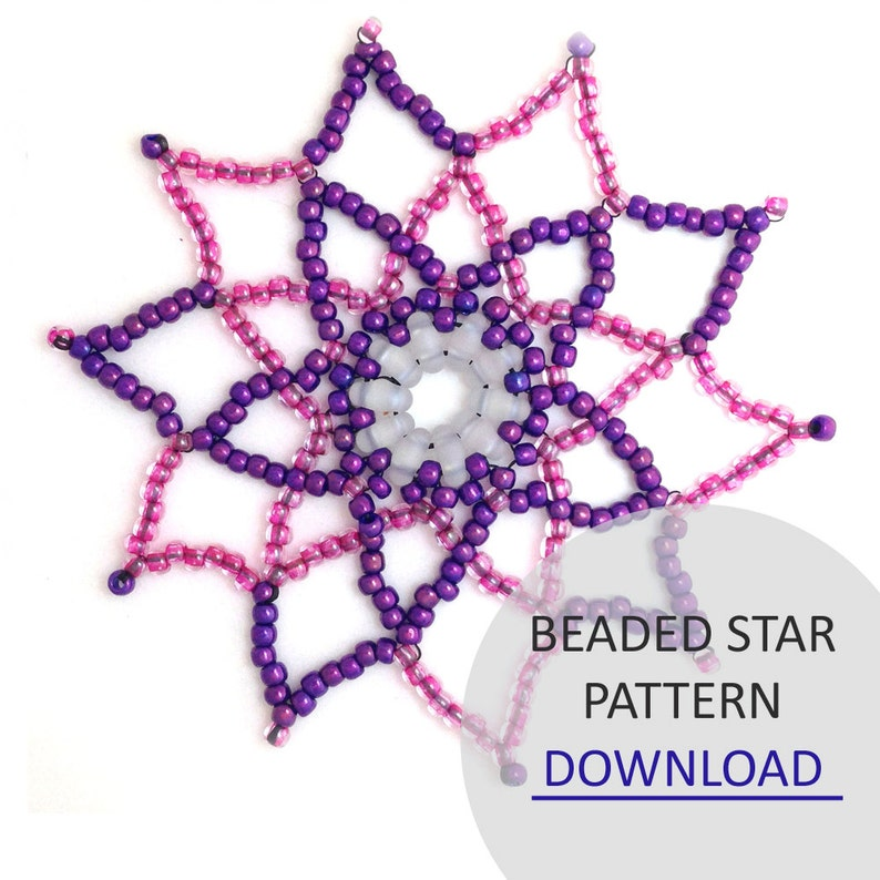 Jewellery Pattern Download / Kleshna Beaded Star Seed Bead & image 0