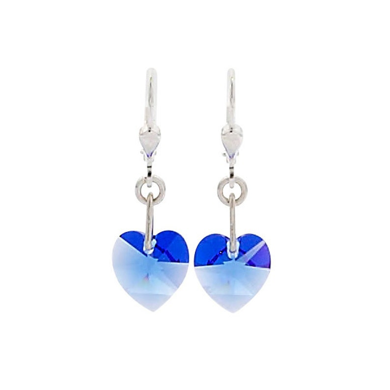 SWAROVSKI Mini Heart Sterling Silver Earrings in Blue Sapphire image 0