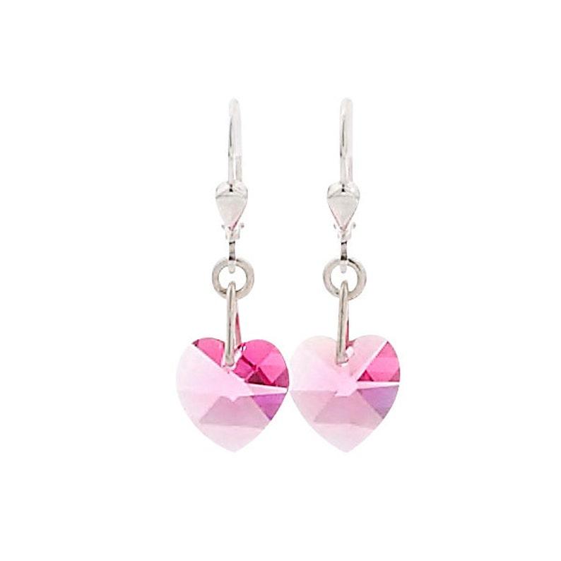 SWAROVSKI Mini Heart Sterling Silver Earrings in Rose image 0