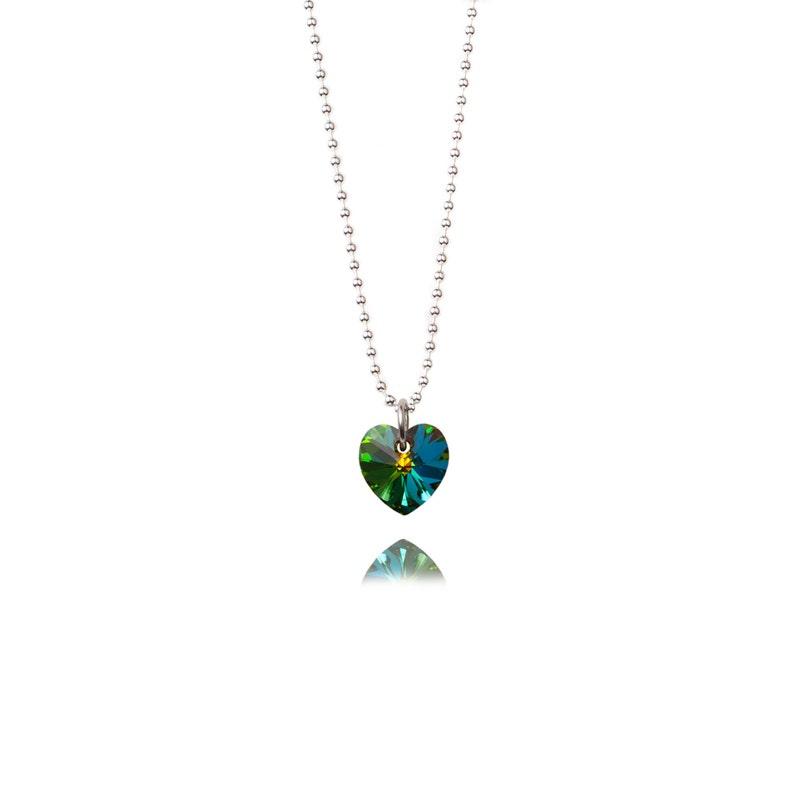 SWAROVSKI Mini Heart Sterling Silver Necklace in Petrol Green image 0