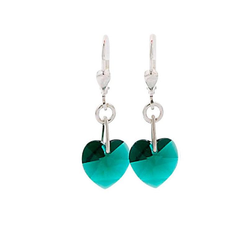 SWAROVSKI Mini Heart Sterling Silver Earrings in Emerald Green image 0