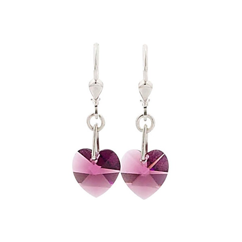 SWAROVSKI Mini Heart Sterling Silver Earrings in Amethyst image 0