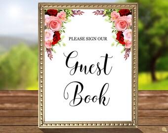 Bohemian Wedding Guest Book Sign, Instant Download, Printable Wedding Sign, Favor Reception Sign, JPEG, code-051