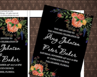 Black and Flowers Wedding Invitation, Printable Wedding Invitation, Digital Invitation, Microsoft Word, code-036