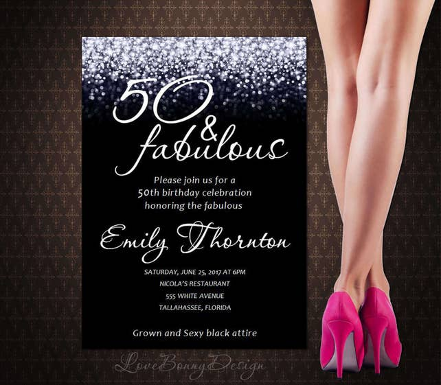 50th birthday invitation 50 and fabulous invitation black and etsy image 0 filmwisefo