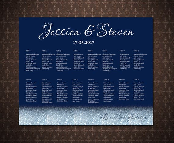 Table order Navy and Gold Sparkles Seating Chart Poster Custom Wedding Seating Chart code-023 Alphabetical order