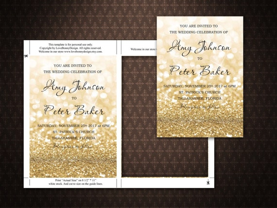 Gold Hochzeit Einladung Editierbare Vorlage Gold Funkelt Druckvorlage Microsoft Word Digitale Datei Code 030