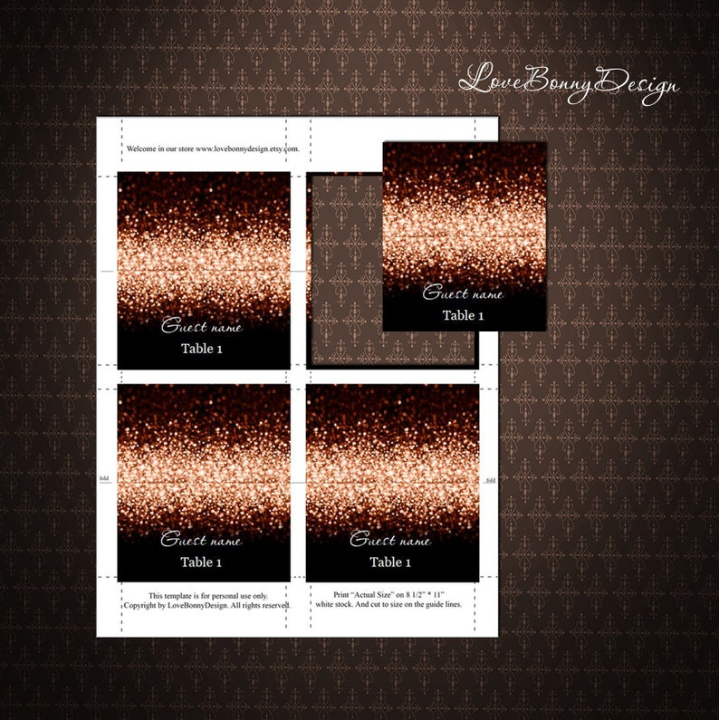 code-024-6 Wedding Place Cards DIY Place Card Printable Black Rose Gold Place Cards Tents