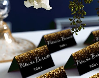 Black and Gold Glitter Tent Wedding Place Card, Place Cards, Avery 5302 DIY Place Card Printable, code-024-1