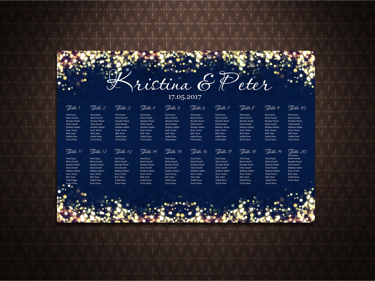 Navy And Gold Sparkles Seating Chart Poster Custom Wedding Seating Chart Alphabetical Order Table Order Code 023