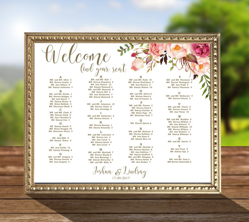code-052 I Create and You Print Wedding Seating Chart Floral Decor Alphabetical order By Table