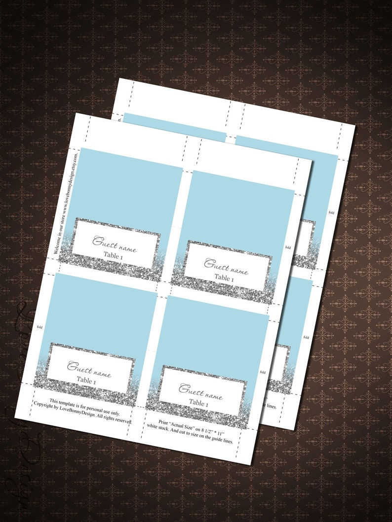 DIY Place Card Printable Light Blue and Silver Silver Glitter Wedding PlaceCards Blue Silver Place Cards code-048-1