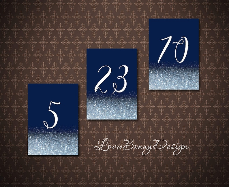 code-034 Navy Table Numbers 1-32 Navy Wedding Decor Table Numbers Printable Double-sided