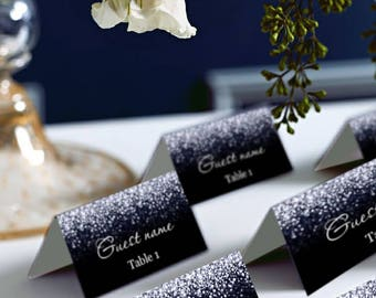 Black and Silver Glitter Wedding PlaceCard, Place Cards, DIY Place Card Printable, code-024-3