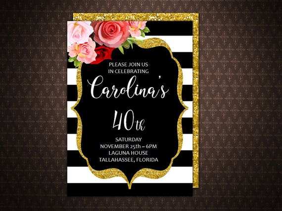 40 And Fabulous 40th Birthday Invitation 50th Black And