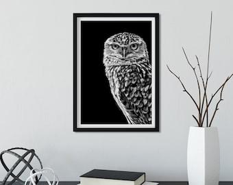 Burrowing Owls Print  Black and White  Original Lino Print  8x8 inches