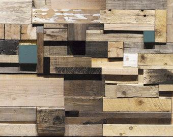 Scrap Wood Feature Wall - Reclaimed Timber Blocks Cladding - Wall Art