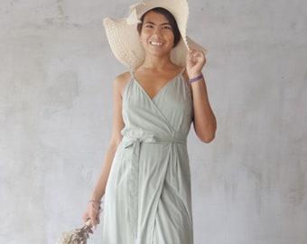 7af72a820876f Pale green Dress, Green bridesmaid, Sage color, Bridesmaid dress,  Wrapdress, Summer Dress, Maternity Dress, Bridesmaid dresses, Long dress