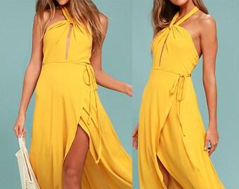 Wrap Dress, Maxi Wrap Dress, Summer Dress, Casual Dress, Long Dress, Yelow, Sleeveless Dress, Bridesmaids Dress, Maternity Dress, Photoshoot