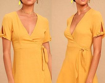 Wrap Dress, Mini Wrap Dress, Bridesmaids Dress, Summer Dress, Casual Dress, Yelow Dress,Kimono Dress, Maxi Wrap Dress, Maternity Dress