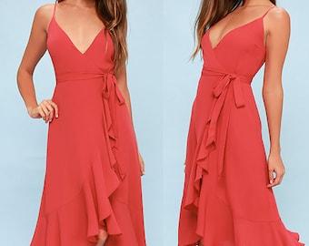 Wrap Dress, Maxi Wrap Dress, Bridesmaids Dress, Midi Wrap Dress, Maternity Dress, Babyshower Dress, Summer Dress, Red Dress, Summer Dress
