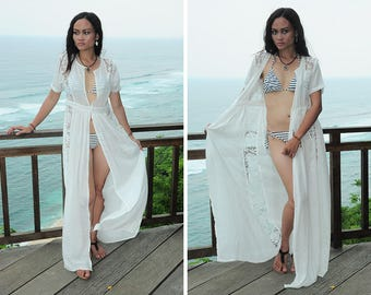e83d8acb1d Maxi Beach Cover Up, Long Robe, Beach Robe, Brocade Robe, Off White Robe,  Resort Wear, Sexy Cover Up, Gift For Her, Honeymoon Dress