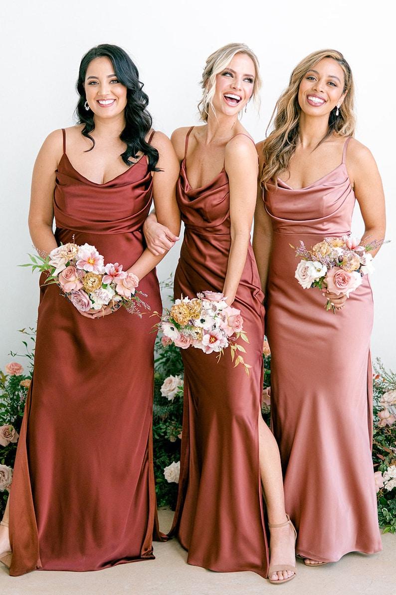 rust color satin bridesmaid dress slip dress wedding dress image 3