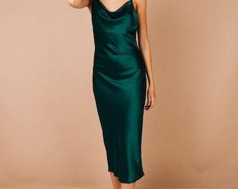 dark green satin bridesmaid dress, wedding dress, bridesmaid dresses, custom dress, long dress