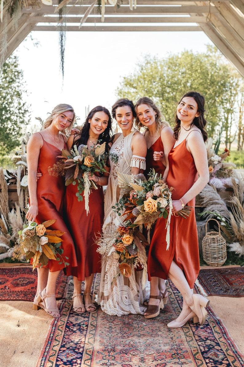 white satin bridesmaid dress slip dress wedding dress image 0