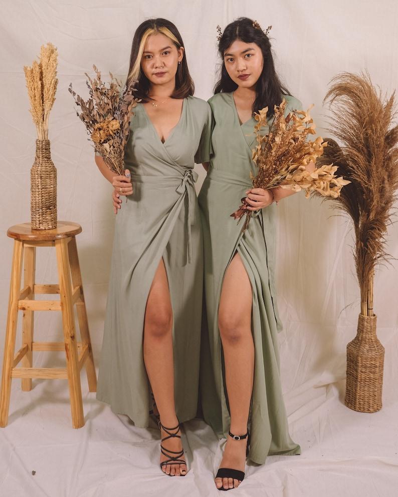 Pale Green Bridesmaid Dress Long Dress Maxi Dress Midi image 0
