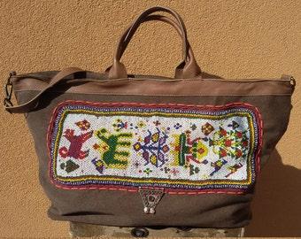 Big canvas bag, shopping bag women, Ibiza boho girl, travel bag, bohemian clothing, California, beaded bag, banjara embroidery, bohemian