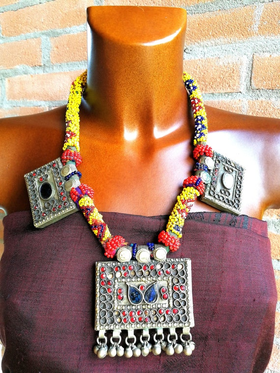 Statement necklace, bohemian afghan necklace