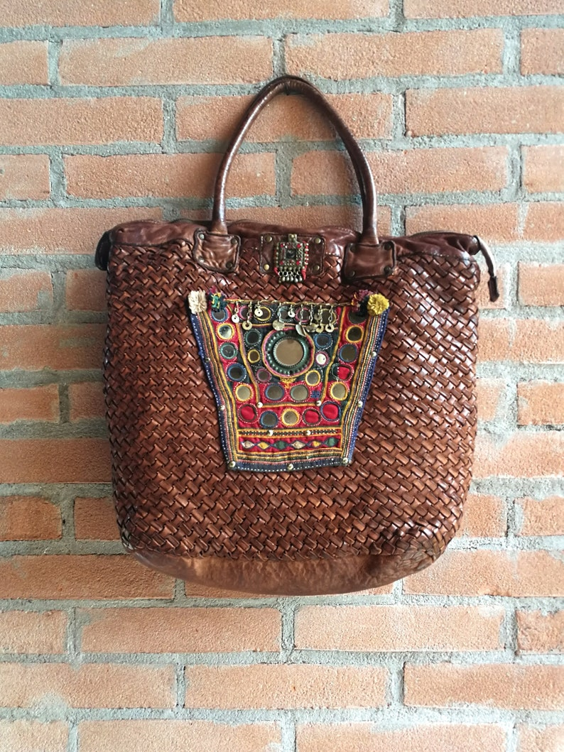 3296235f5f Woven shoulder bag italian distressed leather ethnic style