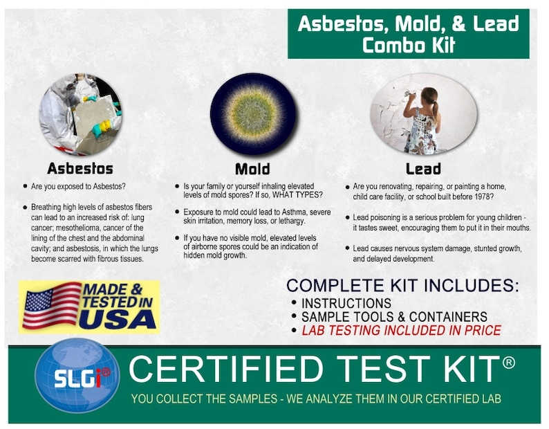 Asbestos, Lead, and Mold Combo Test Kit (5 Bus  Days) Schneider Labs