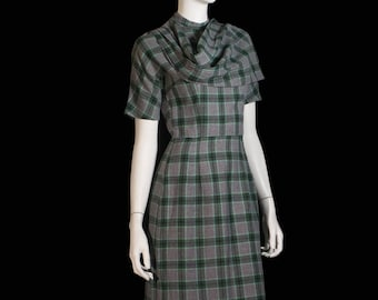 60s plaid wool jonathan logan wiggle dress with attached scarf
