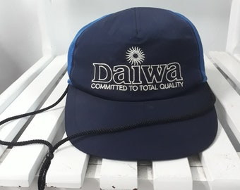 f769fcfc653 Vintage 90s DAIWA Cap Fishing Rods   Reels Embroidered Spellout logo with  Adjustable Fisherman