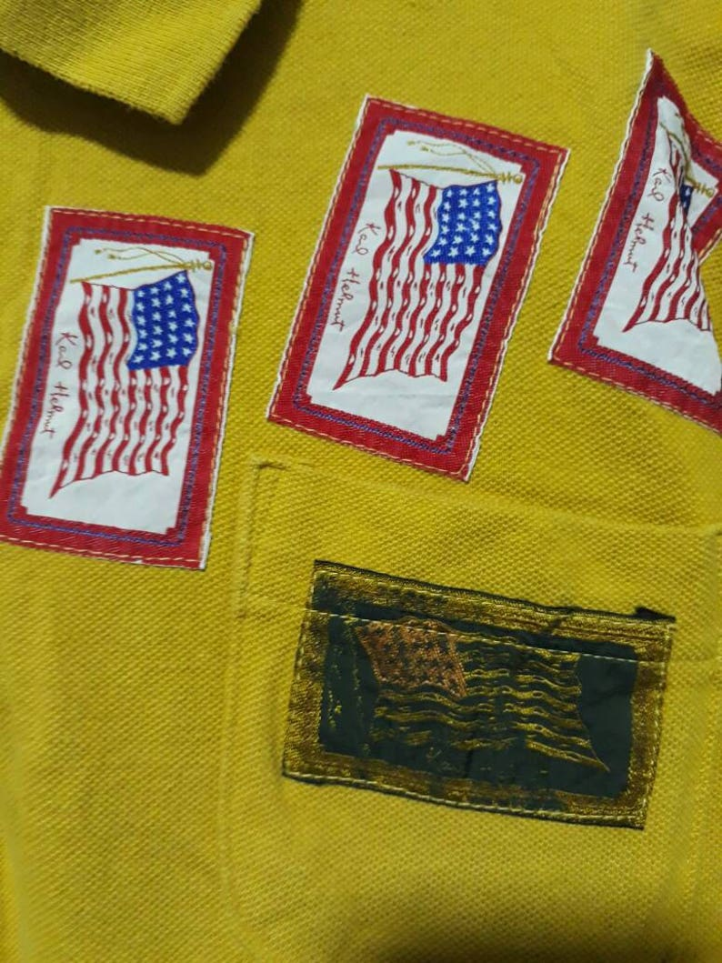 Vtg 90s KARL HELMUT yellow shirt with pacthing work usa flag