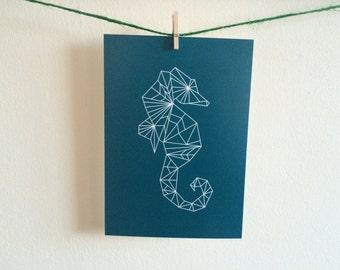 Geometric Seahorse Postcard Print - Teal