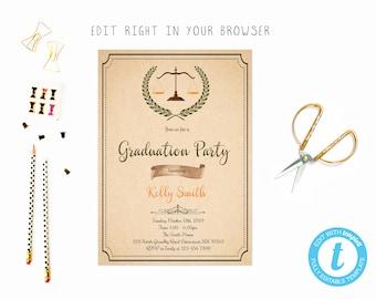 Law school graduation invitation etsy filmwisefo